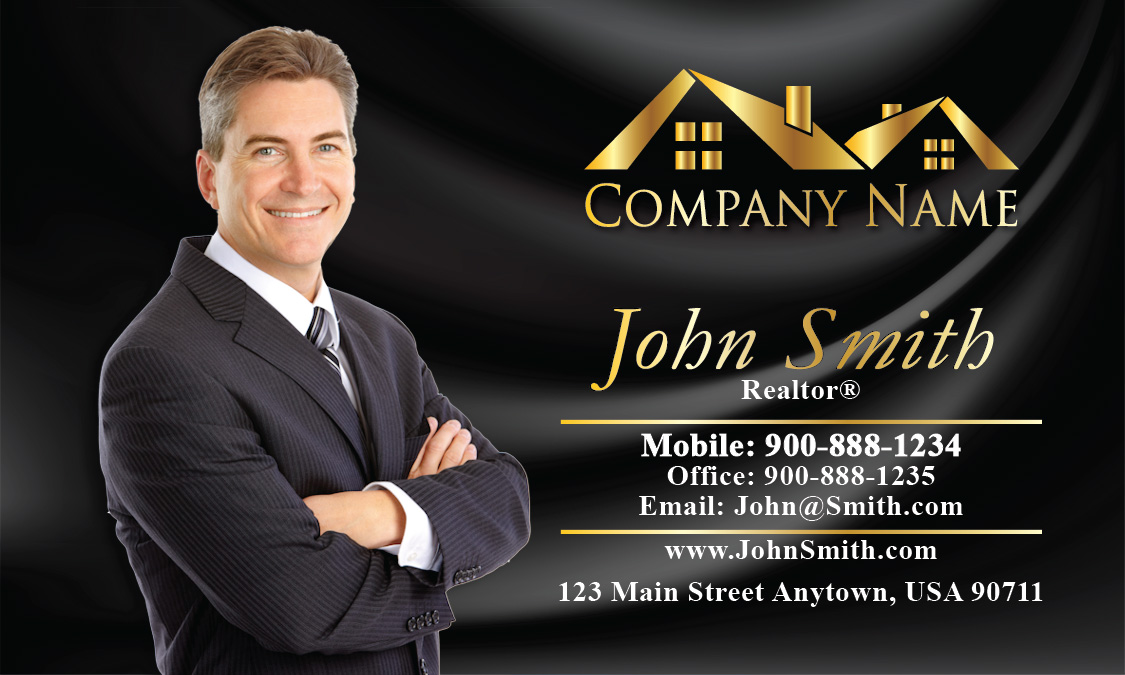 Real Estate Business Cards with Photo - Design #106141