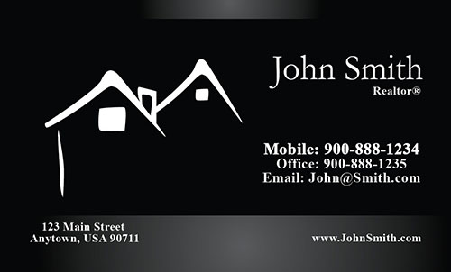 Black Real Estate Business Card - Design #106211
