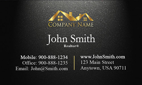 Realty Business Card with Gold Logo - Design #106313