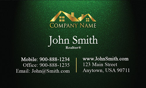 Realty Business Card with Gold Logo - Design #106315