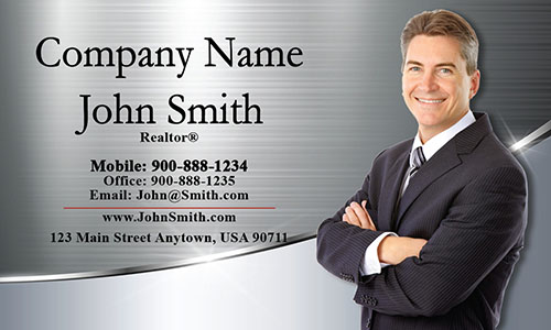 Metallic Look Realtor Business Card with Photo - Design #106391