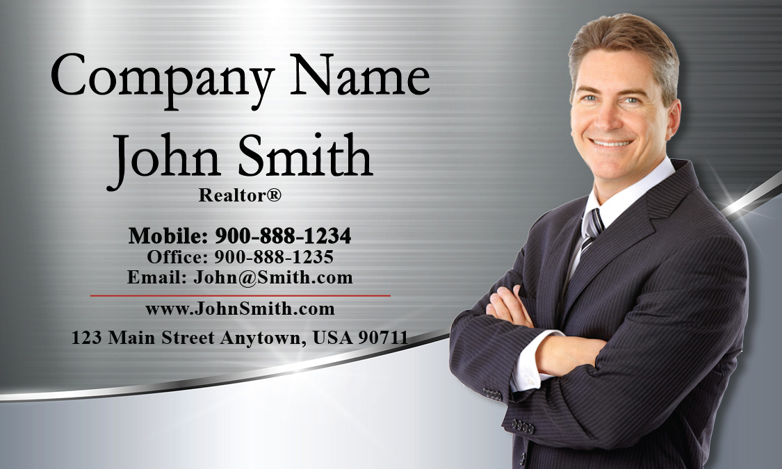 Metallic Look Realtor Business Card With Photo