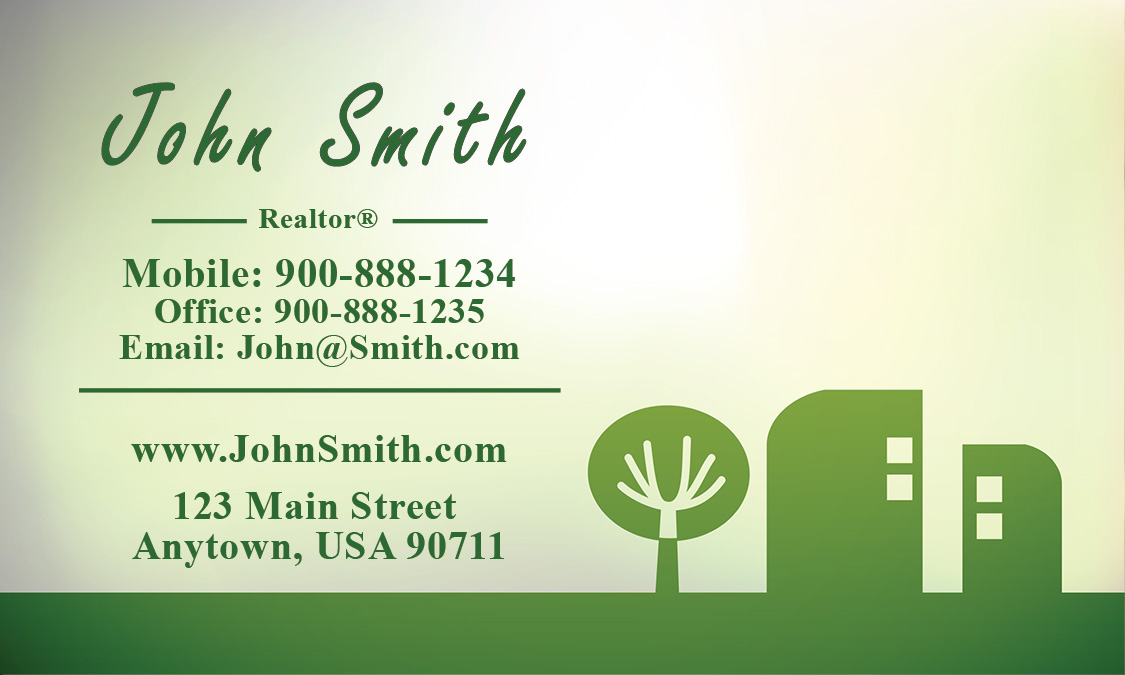 Abstract Tree and House Real Estate Business Card - Design #106401