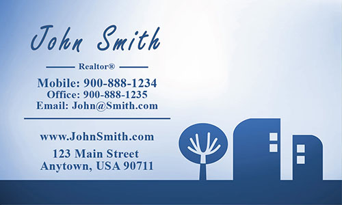 Blue Abstract Tree and House Real Estate Business Card - Design #106402