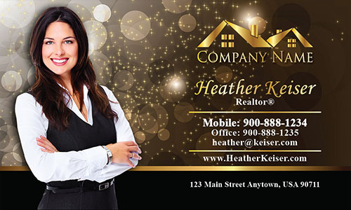 Gold Glitter Sparkle Realtor Business Card - Design #106421