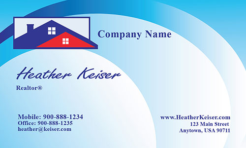 Three Color Realtor Business Card - Design #106481