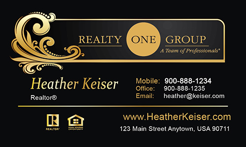 Black Realty One Group Business Card - Design #107011
