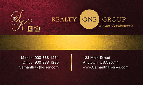 Red Realty One Group Business Card - Design #107053