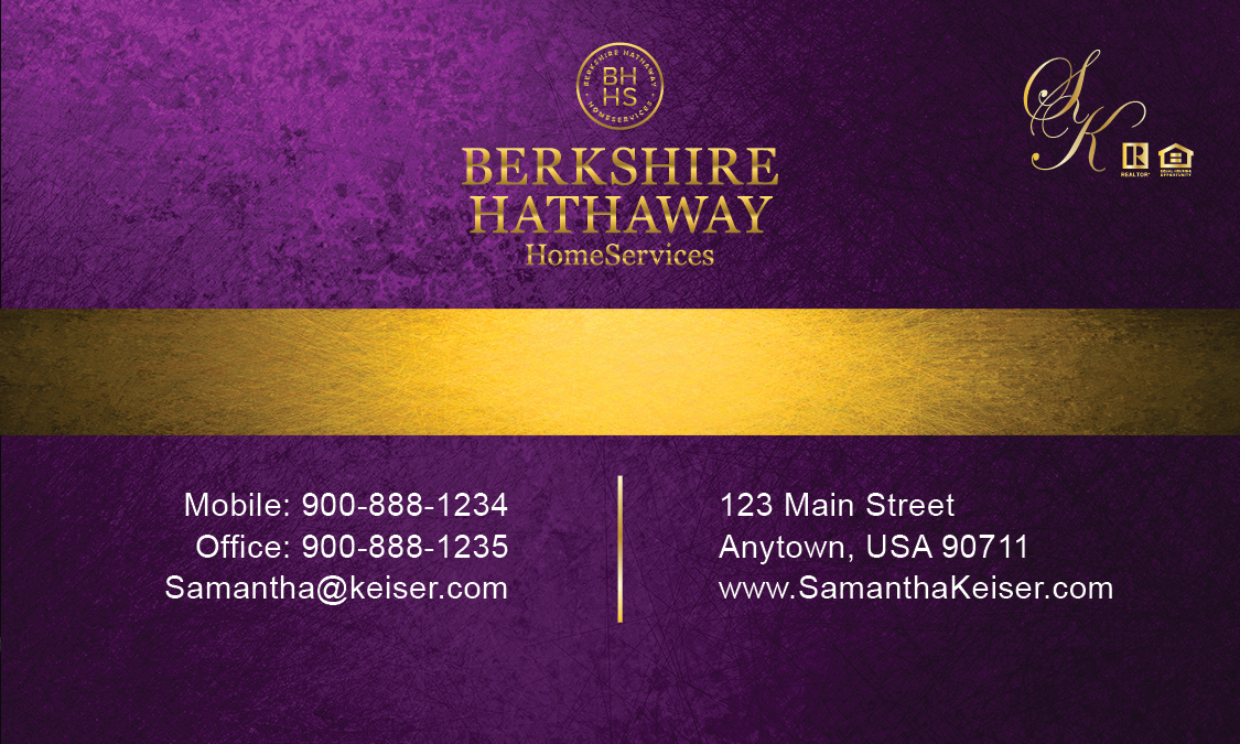 Purple berkshire hathaway business card design 108021 reheart Image collections