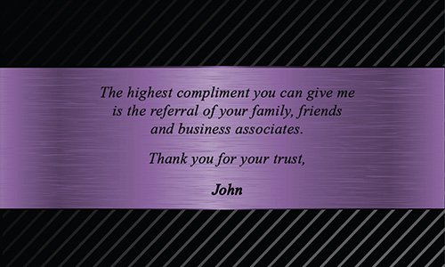 Purple Berkshire Hathaway Business Card - Design #108091