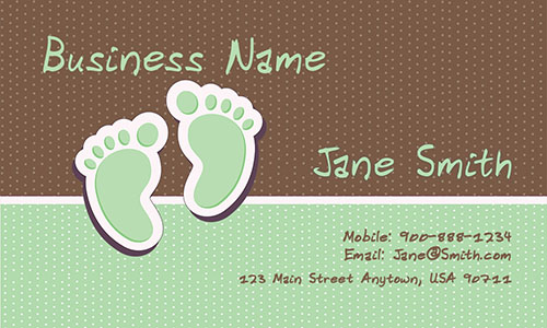 Green Babysitting Business Card - Design #1101033