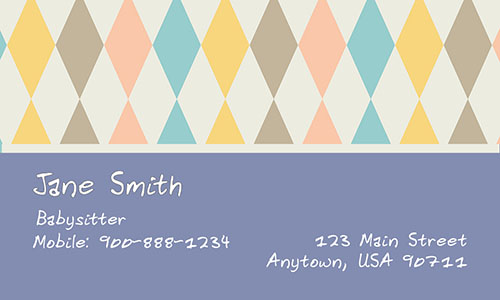 Blue Babysitting Business Card - Design #1101181