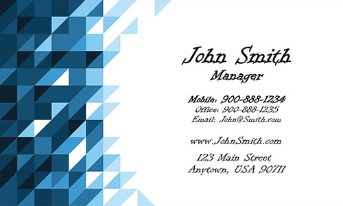 Blue Triangles Visiting Card - Design #1201301