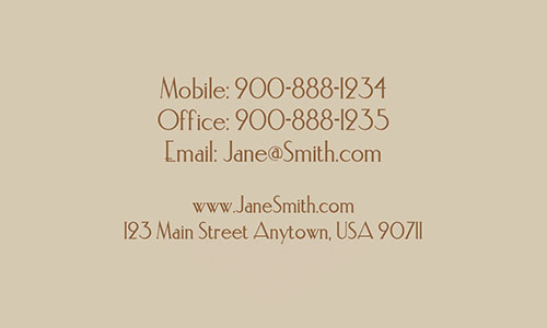 Brown Personal Business Card - Design #1201461