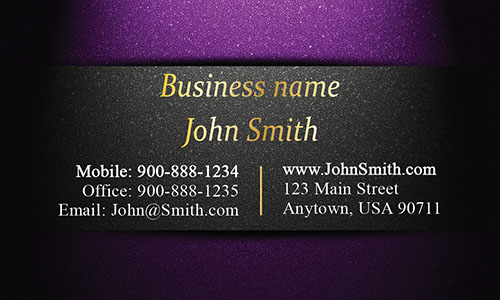 Unique Layout Purple and Gold Visiting Card - Design #1201591