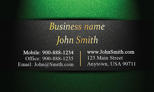 Unique Layout Green and Gold Visiting Card - Design #1201593