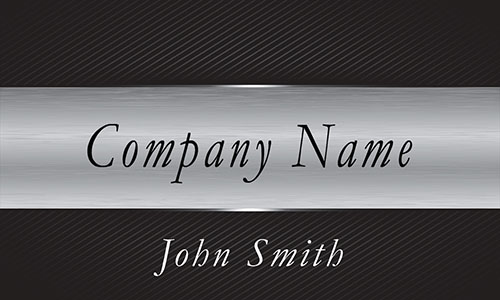 Black and Silver Metallic Stripe Professional Business Card  - Design #1201681