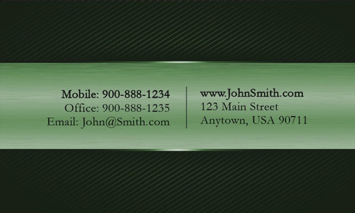 Black and Green Metallic Stripe Professional Business Card  - Design #1201684