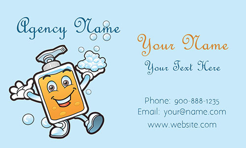 Blue House Cleaning Business Card - Design #1301011