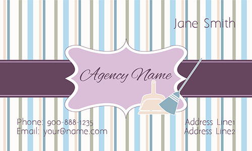 Purple House Cleaning Business Card - Design #1301081