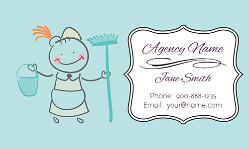 Blue House Cleaning Business Card - Design #1301102