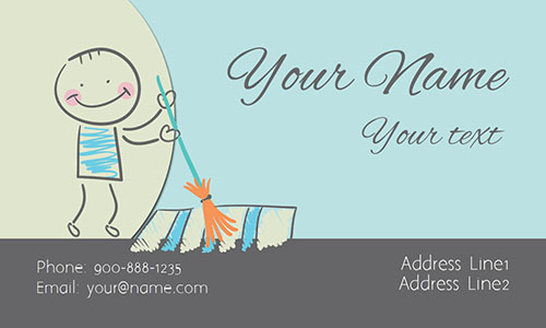 Maid Service Blue Business Card - Design #1301111