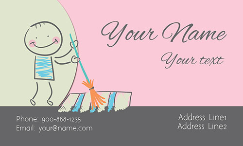 Pink House Cleaning Business Card - Design #1301101