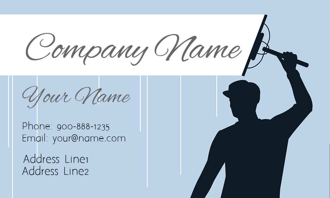 Blue Window Cleaning Business Card Design 1303011
