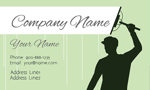 Green Window Cleaning Business Card - Design #1303013