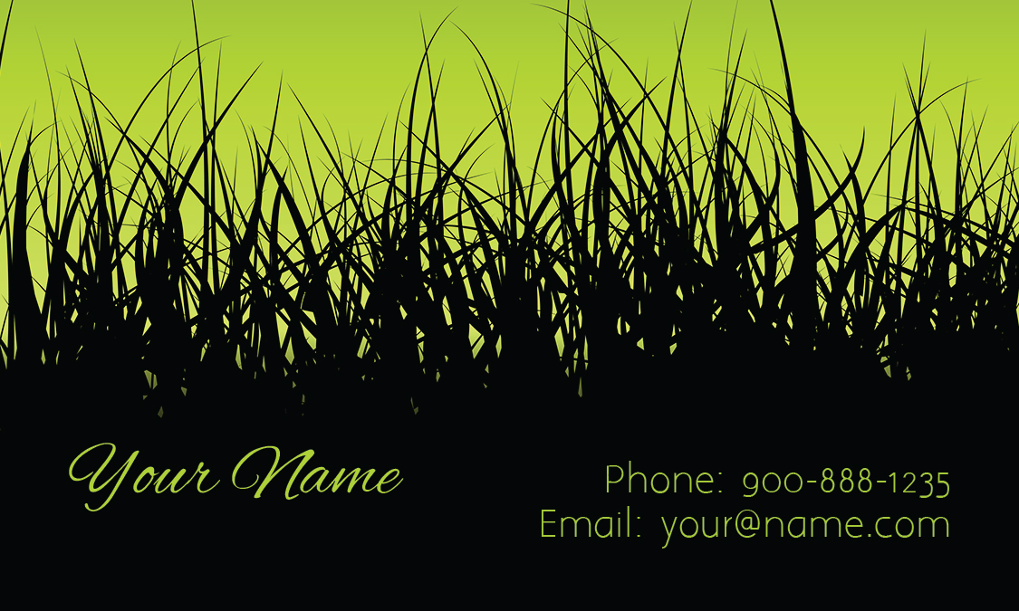 Service Black And Green Business Card Design - Lawn care business cards templates free