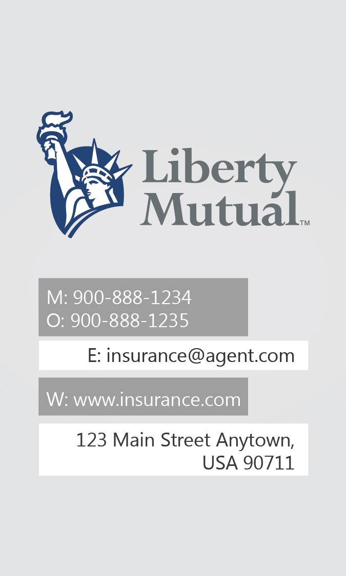 white liberty mutual business card design 207011