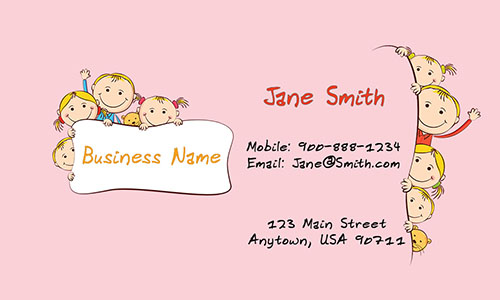 Child care business cards free templates printifycards pink child care business card design 2201031 cheaphphosting Image collections