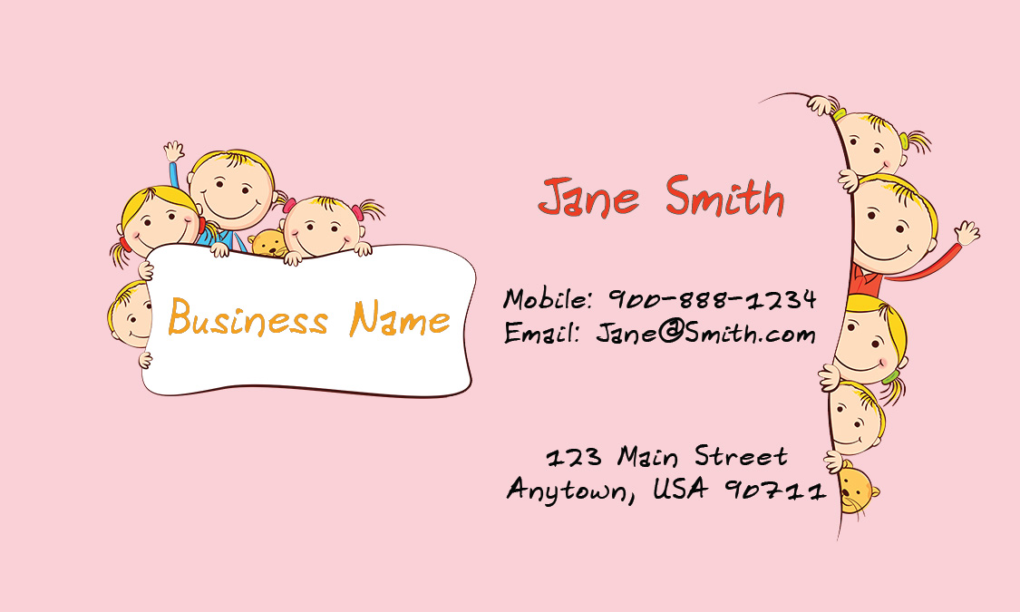 Pink Child Care Business Card - Design #2201031
