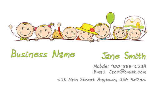 Child care business cards free templates printifycards white child care business card design 2201041 flashek Images