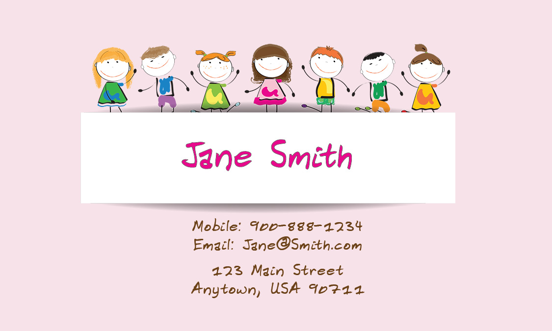 Pink Child Care Business Card - Design #2201051