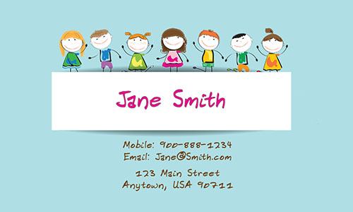 Blue Child Care Business Card - Design #2201052