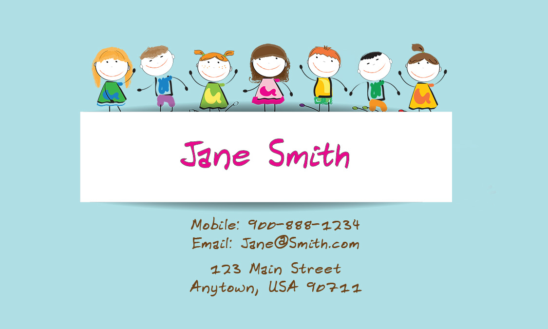 Child care business cards free templates printifycards blue accmission Gallery