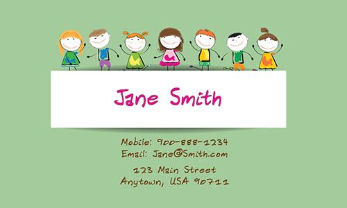Green Child Care Business Card - Design #2201053