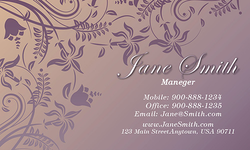 Purple Florist Business Card - Design #2401071