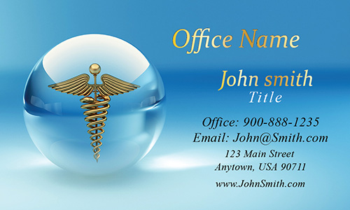 Gold 3D Medical Symbol Health Care Business Card - Design #301061