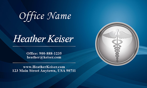 Silver Medical Symbol Doctor Business Card - Design #301221