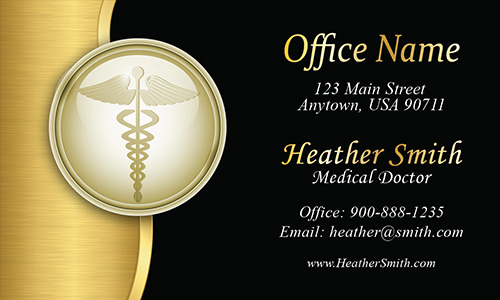 Gold Medical Doctor Business Card - Design #301351