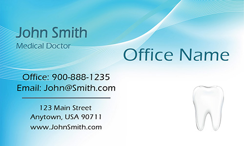 Blue Dentist Business Card with Teeth - Design #301361