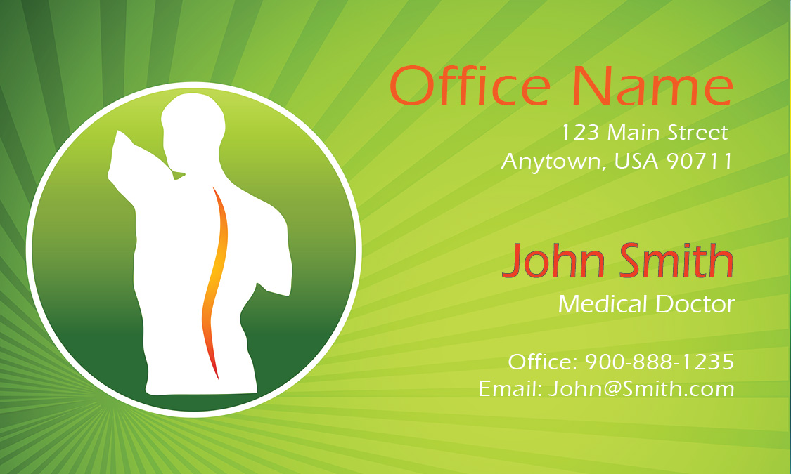 Green back pain doctor business card design 301511 reheart Images