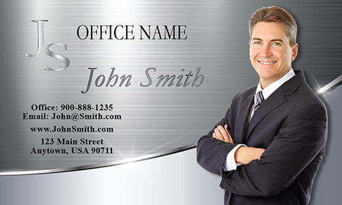 Metallic Finish Lawyer Business Card with Personal Photo - Design #401111