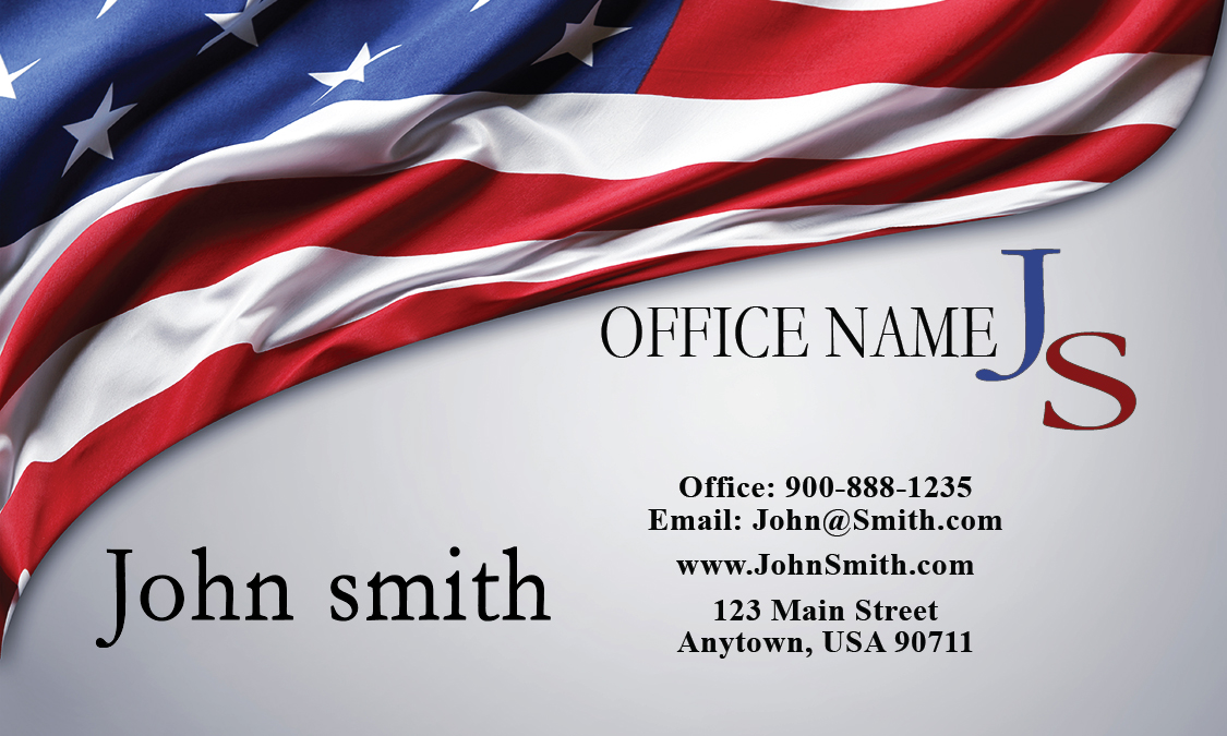 Military lawyer business card with american flag design for American flag business cards
