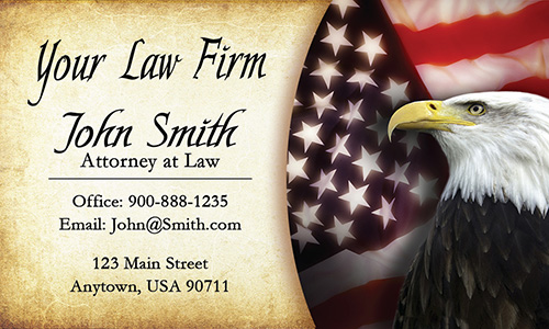 Vintage Eagle and American Flag Attorney Business Cards - Design #401171