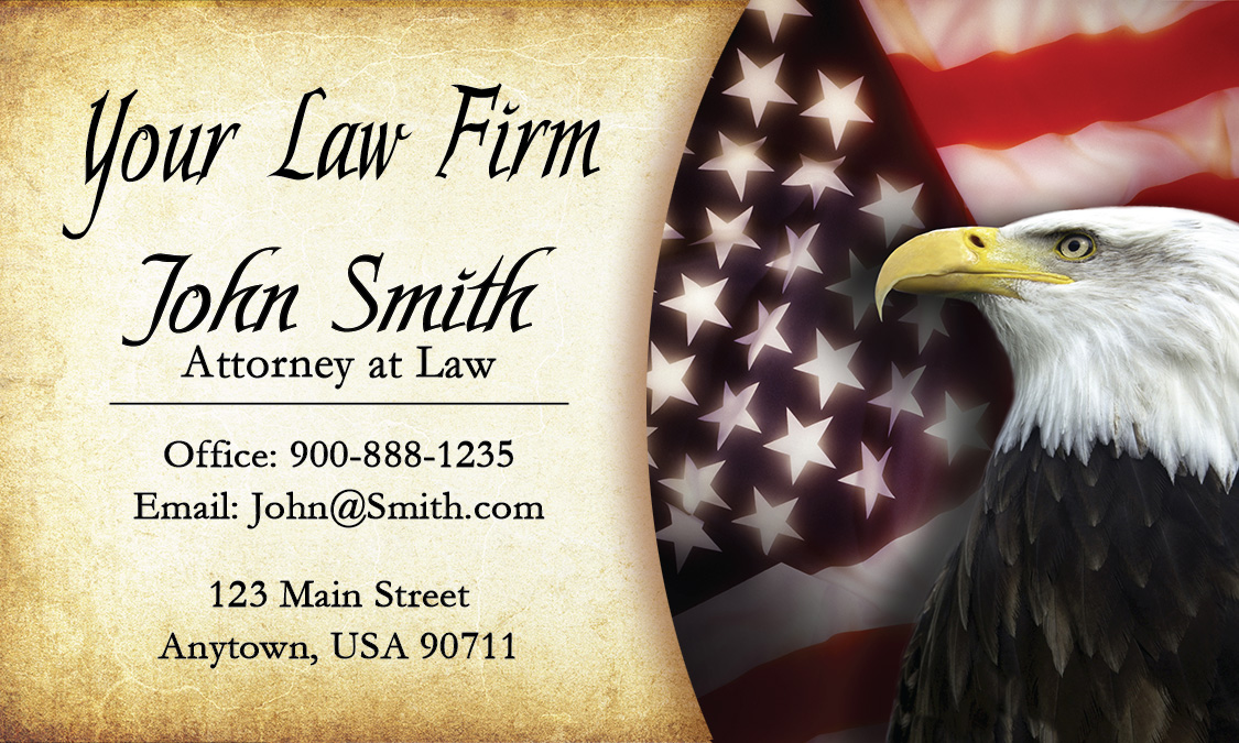 Eagle and American Flag Attorney Business Cards - Design #401171