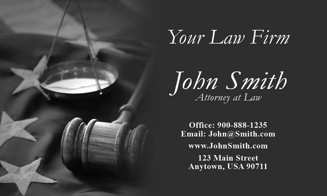 Lawyer Business Card with American Flag - Design #401201