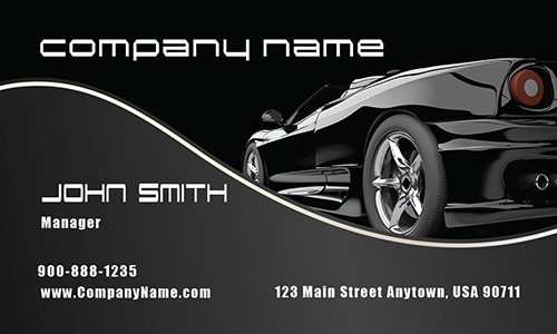 Stylish Black Corvette Automotive Business Card - Design #501021